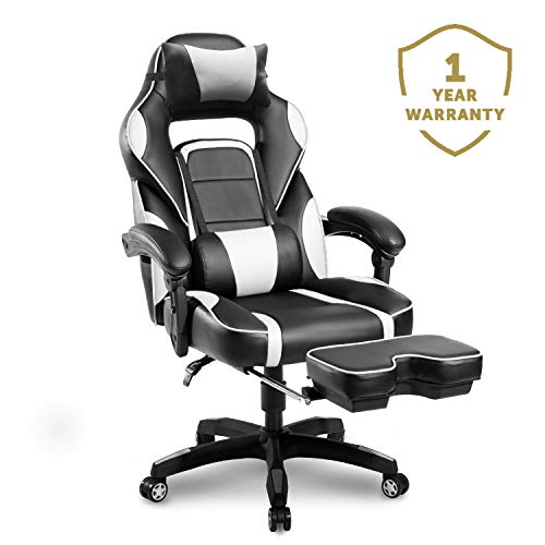 Merax Racing Gaming Chair with Footrest   Ergonomic Office Reclining Chair for Computer Gamers PC Racer, High Back Large Home Desk Chairs Executive with Adjustable Armrest and Comfortable Seat Adults