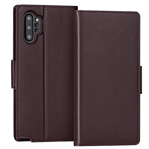 FYY Samsung Galaxy Note 10 Plus Case/Galaxy Note 10 Plus 5G Case Luxury Cowhide Genuine Leather [RFID Blocking] Wallet Case with Kickstand and Card Slots for Galaxy Note 10 Plus/Note 10 Plus 5G Brown