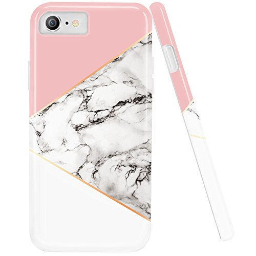 iPhone 7 Case,iPhone 8 Case,DOUJIAZ Marble Design Geometric Anti-Scratch &Fingerprint Shock Proof Thin Non Slip Silicone Back Protective Cover for iPhone 7/iPhone 8 -Pink/White