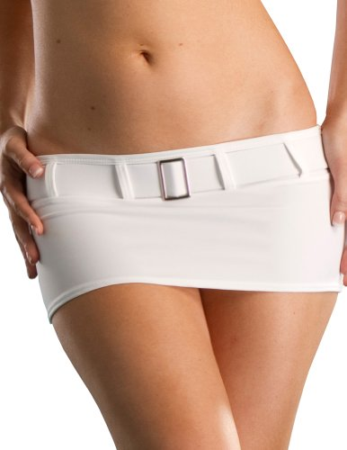Low Mini Skirt Rise (Sexy Mini Skirt, Low Rise and Belted, White Medium, Made in the USA)