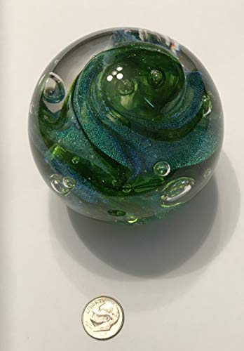 (Handmade Dichroic Glass Paperweight - Forest Swirl )