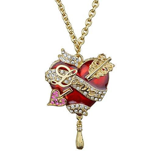 Ritzy Couture Heart & Arrow Red Pendant Necklace (Goldtone) - Opening Locket with Message