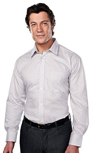 Tri-Mountain Gold 975 Mens 100% Cotton Wrinkle Free Yarn Dye Stripe Woven Shirt - Gray/White - 3XL (Stripe Woven Dye Yarn Shirt)