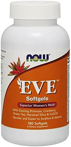 Now Supplements, Eve Women's Multivitamin with Evening Primrose, Cranberry, Green Tea, Horsetail Silica & CoQ10, 180 Softgels