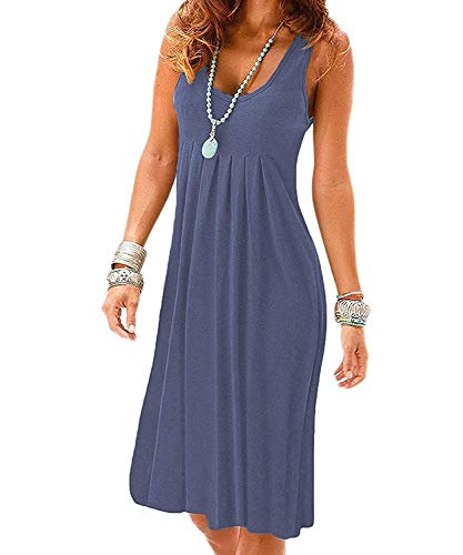 - Akihoo Women Summer Vest Tank Dress Casual Loose Cotton Sleeveless Pleated Round Neck Plain #1-Purple Grey XX-Large