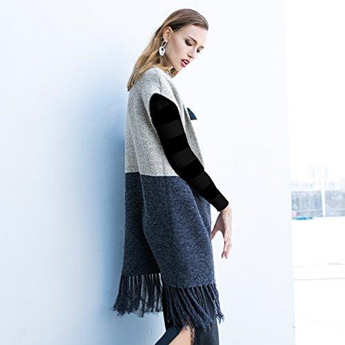 VONDA Cardigan Femme Mi Longue sans Manches Patchwork Frangé Chic Mode Gilet Manteau