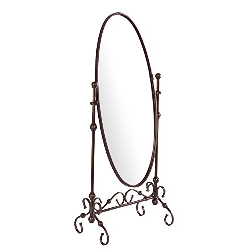 "Southern Enterprises Lourdes Cheval Oval Free Standing Mirror 56"", Antique Bronze Finish"