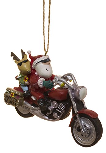 Christmas Motorcycle - Cape Shore Santa and Reindeer Riding a Motorcycle Christmas Holiday Ornament