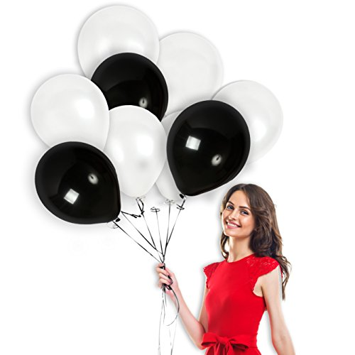 100 Pieces of 12-Inch Thick Latex Balloons | Shiny, Solid Black and White Balloons with a Pearl Finish and 65 Yards of Crimped Curling Ribbon | Party Decorations for Birthdays, (White Birthday Balloon)