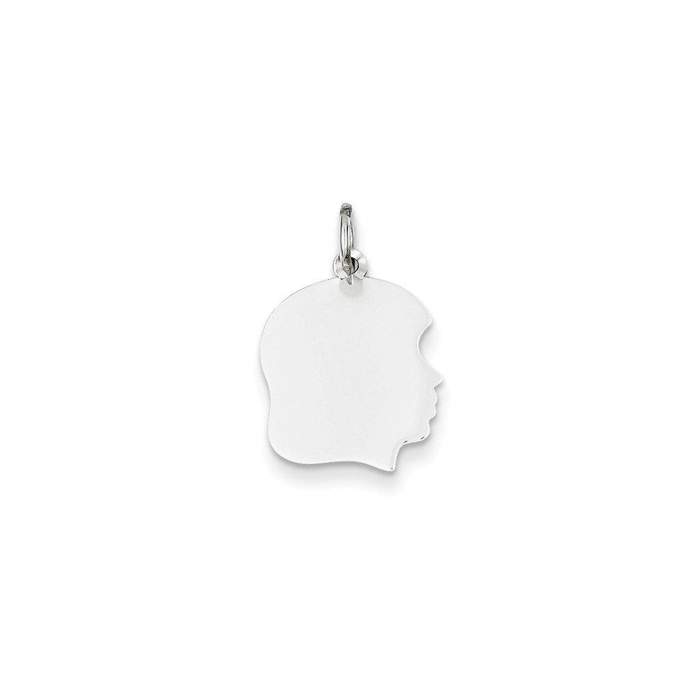 Solid 14k White Gold Plain Medium Facing Right Engravable Girl Charm Pendant 24mm x 4mm