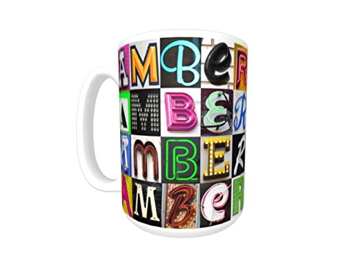 (AMBER Coffee Mug / Cup - using photos of sign letters - personalized)