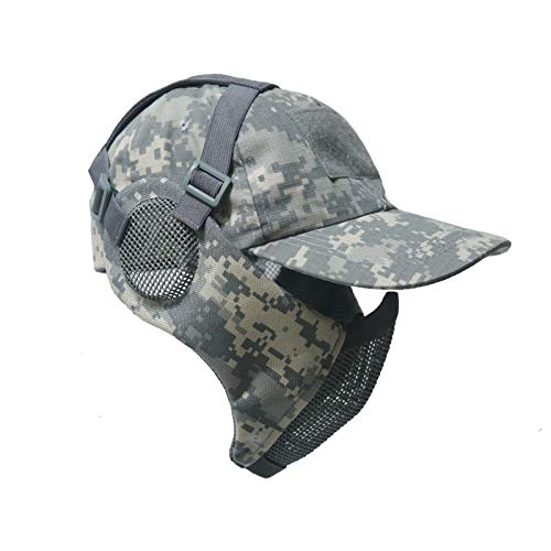 NO B Tactical Foldable Mesh Mask with Ear Protection for Airsoft Paintball with Adjustable Baseball Cap (ACU)