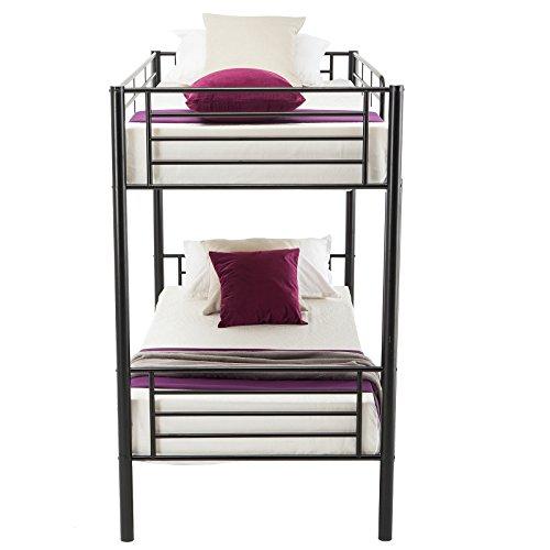 Dfm Twin Over Twin Metal Bunk Beds Frame Ladder Kids Adult Children Bedroom Dorm Black