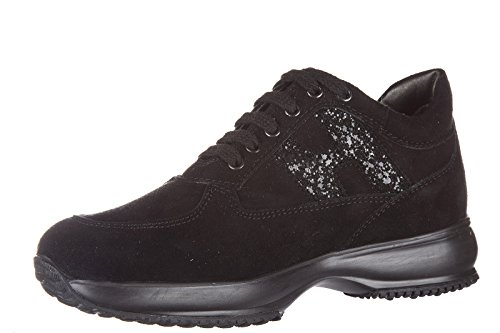 Hogan scarpe sneakers bambina camoscio interactive fustellata nero