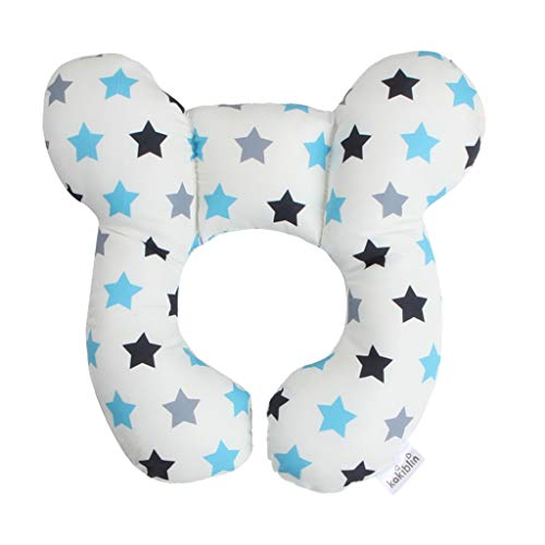 KAKIBLIN Baby Travel Pillow for Head and Neck Support Pillow for Pushchair,Car Seat,Travel (White Star)