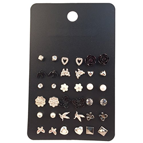 18 Pairs Multiple White Black Earring Set for Women Heart/Flower/Bird Stud Earrings