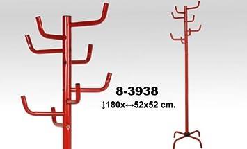 DonRegaloWeb - Perchero de pie de metal en color rojo de 8 brazos a diferentes alturas