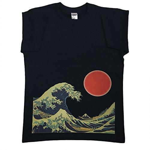 Japanese Fashion Clothing - wagaraya Japan Japanese design The Great Wave T-shirt (Medium)