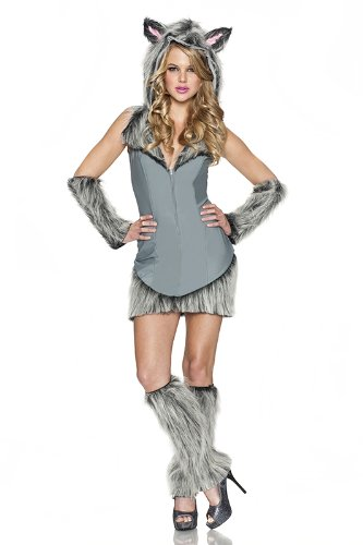 Wolf Sexy Costumes (Delicious Wolf Costume, Grey, Medium)