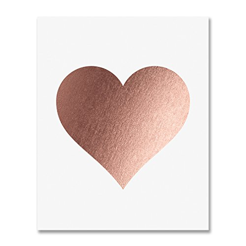 (Rose Gold Foil Heart Print Wall Art Modern Heart Decor Love Nursery Room Poster 8 inches x 10 inches A32)