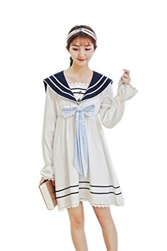 Women's Sailor Dress with Bow Tie Nautical Anime Cosplay Costumes Japanese School Uniform High Waist Set Lolita Suit Blue XXL ()
