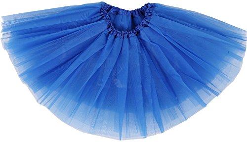 Girl's Tutu Skirt 4 Layered Tulle Princess Dress-up Tutu Skirt,Rol Blue,2-8 Years -
