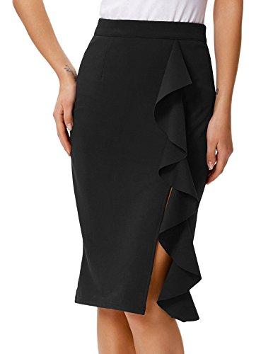 GRACE KARIN Jupe Crayon Moulant Taille Haut Femme Mi Longue Jupe Crayon Bodycon Jupe pour Femmes Noir