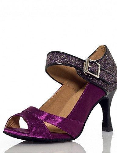 Damen Schlag Latin Tanzschuhe Anpassbare Absatz mit Purple Nicht Satin ShangYi qAwpa8v