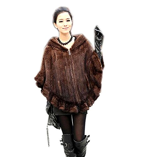 Mink Poncho - qmfur Women's Real Genuine Mink Knitted Fur Cape Poncho Jacket Brown (Brown)