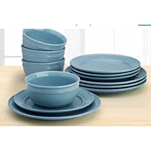 dinnerware sets for 12 mainstay amelia 12 solid color 12224