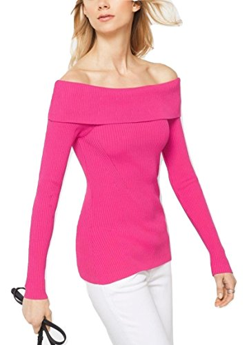 MICHAEL Michael Kors Ribbed Knit Off Shoulder Top Sweater (Electric Pink, XX-Small) - Michael Kors Ribbed