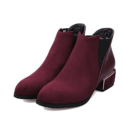 Top Heels Women's Boots On Pull Low Solid Low Allhqfashion Materials Blend Claret ZzOFxOWS