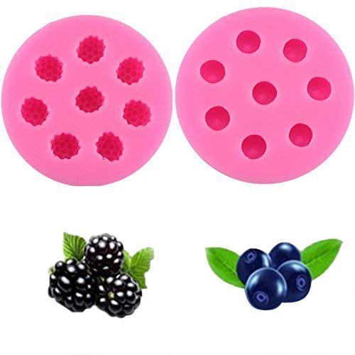 Mold for Cupcakes Topper Decorating 2pack Blueberry Raspberry Icecube Silicone Mold Fondant Cake Decoration Molds Baking Cookie Tools Chocolate Candy Making Molds
