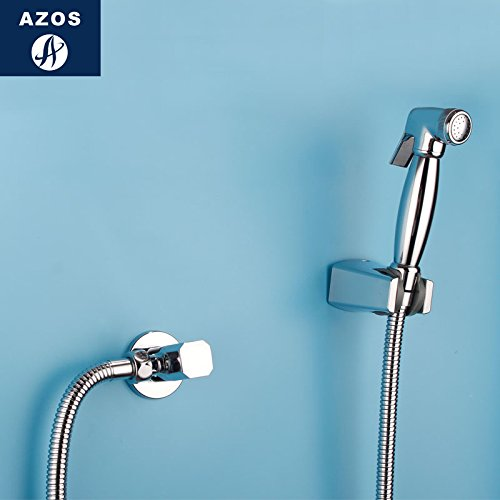 Azos Bidet Faucet Pressurized Shower Nozzle Brass Chrome Cold Water Single Function Washing Machine Pet Bath Shower Room Round PJPQ028B by AZOS