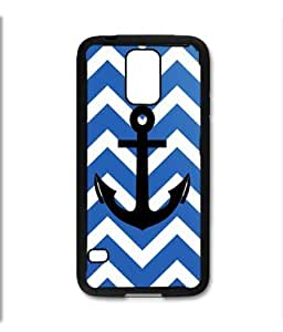 Samsung Galaxy S5 SV Black Rubber Silicone Case - Blue Chevron Pattern with Black Anchor