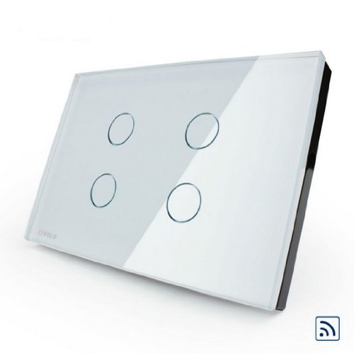 US/AU Standard, Touch & Remote Switch, VL-C304R-81, 4 Gang 1 Way, Ivory White Crystal Glass Panel, Wall Light Touch Switch+ LED Indicator by NIMTEK (Image #4)