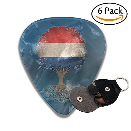 Tree Of Life With Dutch Flag Celluloid Guitar Picks Plectrums Guitar Bass Accessories, 6 Pack.46mm ()