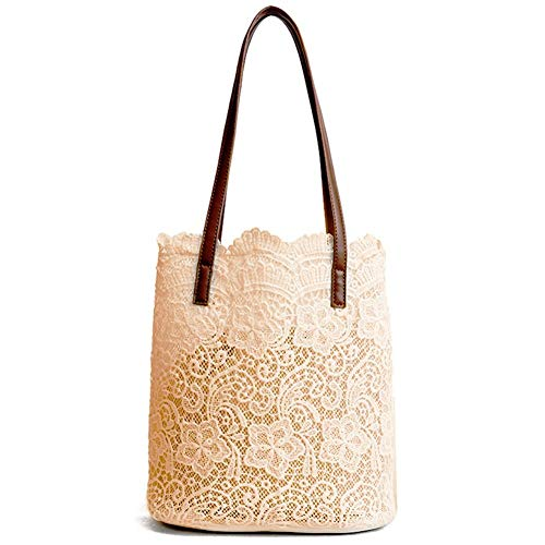 HEYJUDY Lace Shoulder Bag with Inner Bag Large Capacity Square Vertical Section Japanese Fashion Style for Sunny Beach Vacation Concert Shopping - Fashion Netbook