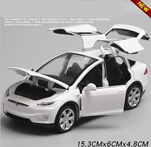 - Pull back car toy 1:32 Alloy, high Imitation Tesla Model X90, 4 Open Door Music &Flash& Toy Vehicles (White)