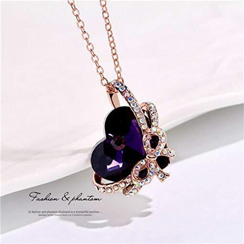 Women Heart Butterfly Purple Crystal Rhinestone Silver Chain Pendant Necklace пјЃпјЃ