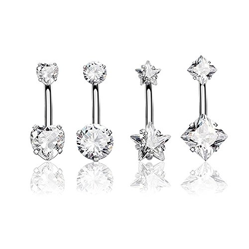 CrazyPiercing 4Pcs 14G Surgical Steel Double Cubic Zirconia Belly Button Ring Navel Piercing Barbells (White)