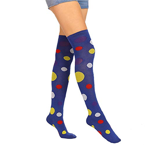 Womens Long Colorful Polka Socks Girls Over Knee Thigh High Crazy Fun Clown Cosplay Costume Party Performance Stockings