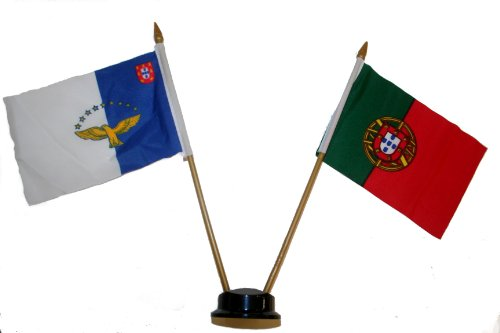 Portugal & Azores Small 4 X 6 Inch Mini Double Country Stick Flag Banner with BLACK STAND on a 10 Inch Plastic Pole New ()