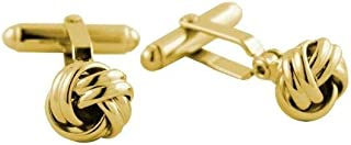 product image for David Donahue Men's Metallic Sheen Gold Plated Brass Knot Cufflinks (CL170209)