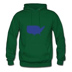 Cotton O-neck United States - America - Usa Women Designed X-large Hoody Green