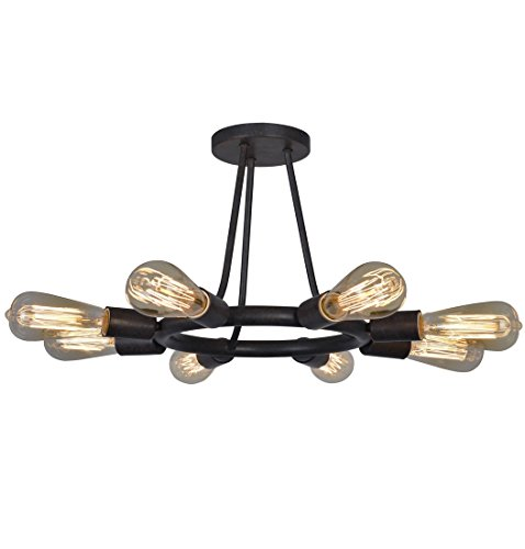 Crystorama 9043-CZ Restoration Eight Light Ceiling Mount from Dakota collection in Bronze/Darkfinish, - Dakota Collection Chandelier Light Fixture