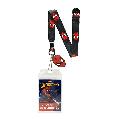 The Silver Buffalo MC11425B Marvel Spidey Face Scratches Border Lanyard with Badge Holder and Charm