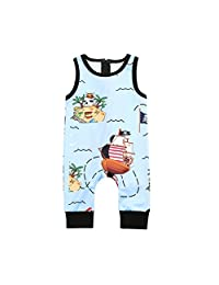 Lavany Baby Romper Cute Pirate Print Cotton Zip Jumpsuit Clothes for Toddler Boy Girls