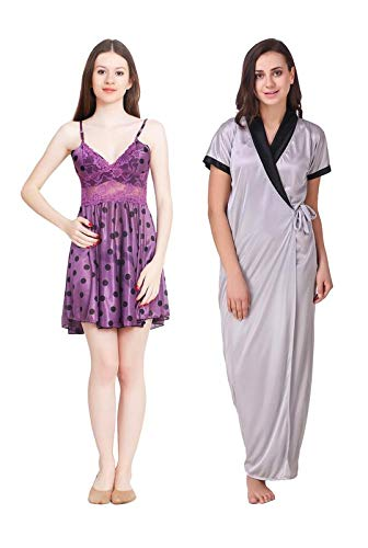 777bd4f37 LEZAIRA Satin Short Baby Doll Nighty with Robe:Pack of 2 Silver: Amazon.in:  Clothing & Accessories