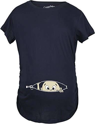 Christmas Gifts Pregnant Women - Maternity Baby Peeking T Shirt Funny Pregnancy Tee For Expecting Mothers (Navy) - M
